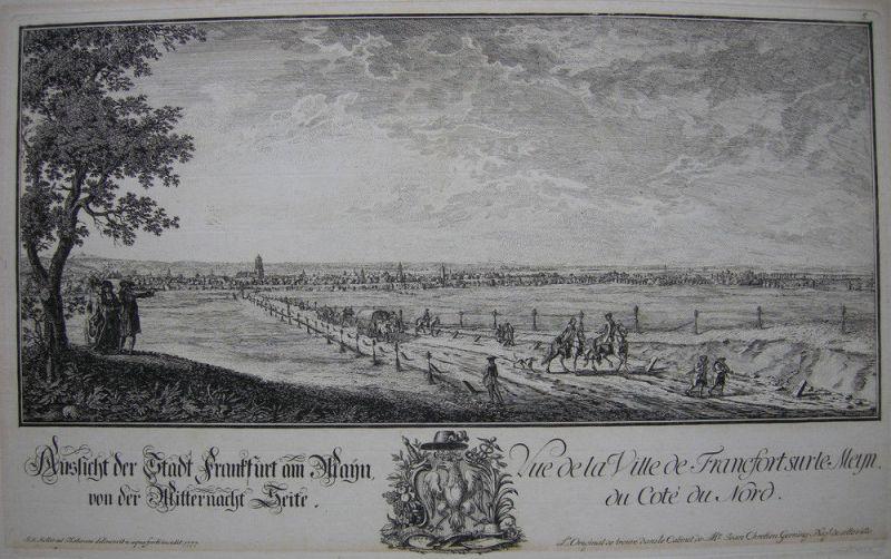 Joh Jak Koller (1746-1806) Frankfurt Mitternacht Seite Orig Radierung 1777 1