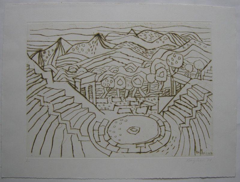 Eduard Bargheer (1901-1979)  Amphitheater Italien Orig Radierung 1970 signiert 0