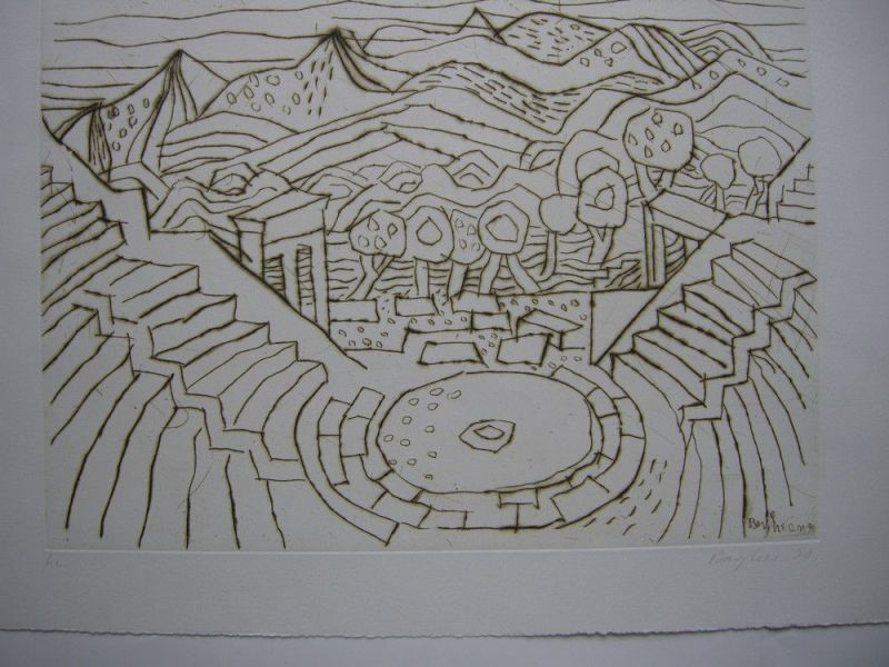 Eduard Bargheer (1901-1979)  Amphitheater Italien Orig Radierung 1970 signiert 1