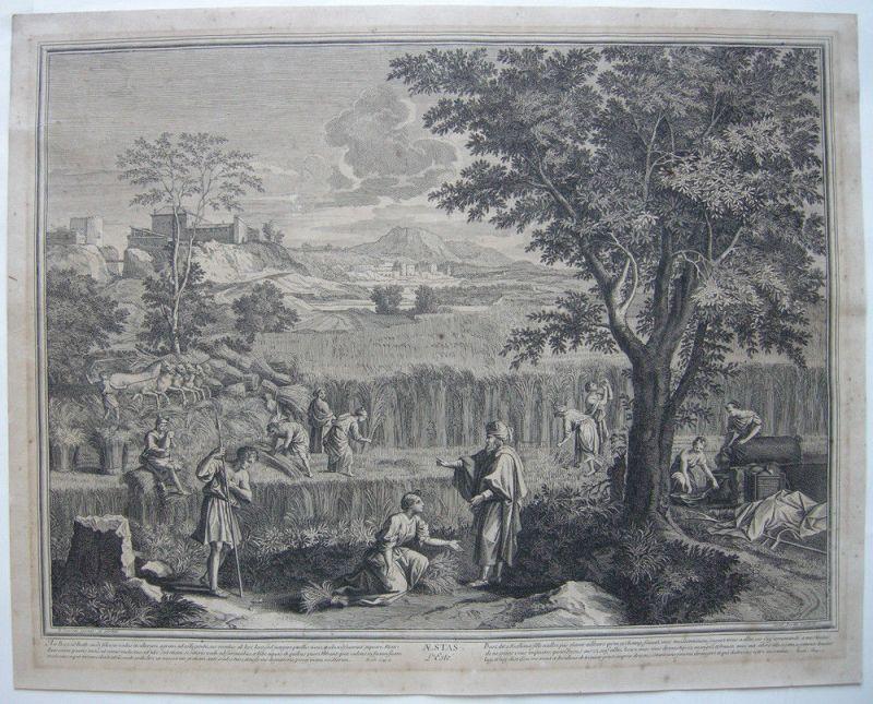 Jean Pesne  (1623-1700) Jahreszeiten Sommer Poussin Orig Kupferstich 1690 0