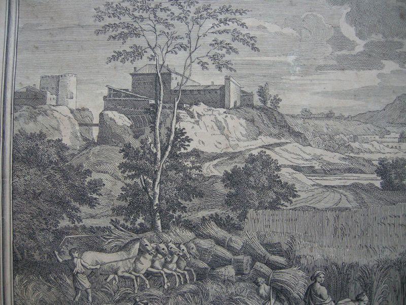 Jean Pesne  (1623-1700) Jahreszeiten Sommer Poussin Orig Kupferstich 1690 1