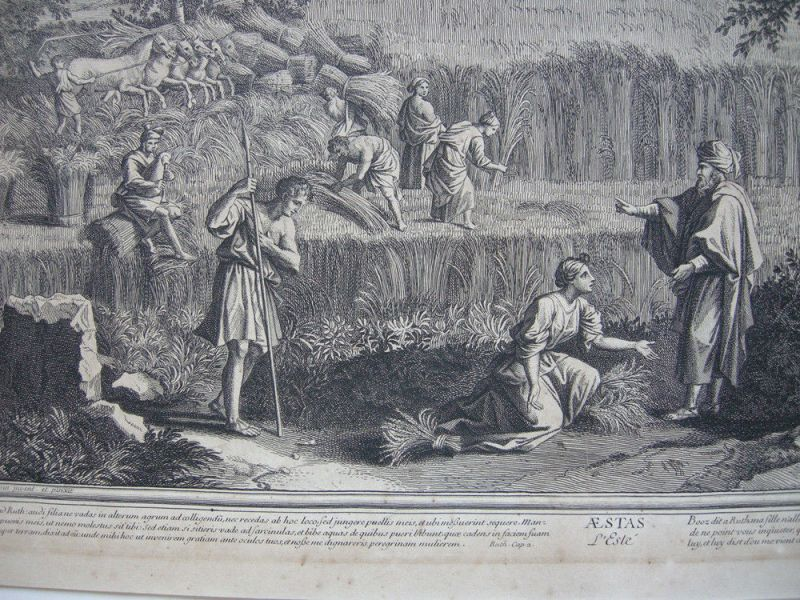 Jean Pesne  (1623-1700) Jahreszeiten Sommer Poussin Orig Kupferstich 1690 3