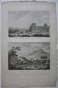 Reggio di Caserta Vallee Fourches Neapel Orig. Radierung 1800 Kampanien Italia