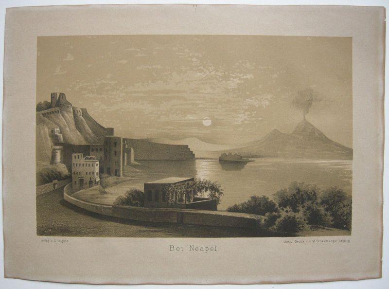 Bei Neapel Bucht Vesuv im Mondschein Italien Italia Orig Lithografie 1850 Napoli