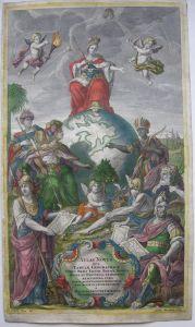 Seutter Titelblatt Atlas novus altkolor Kupferstich 1740 Erdteil-Allegorien