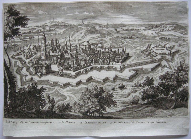 Casale Montferrato Piemont Italia incisione Orig Kupferstich 1700 Veduta totale