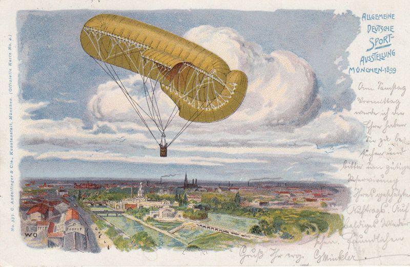 AK München Allgemeine Deutsche Sport-Ausstellung gel 1899 Litho