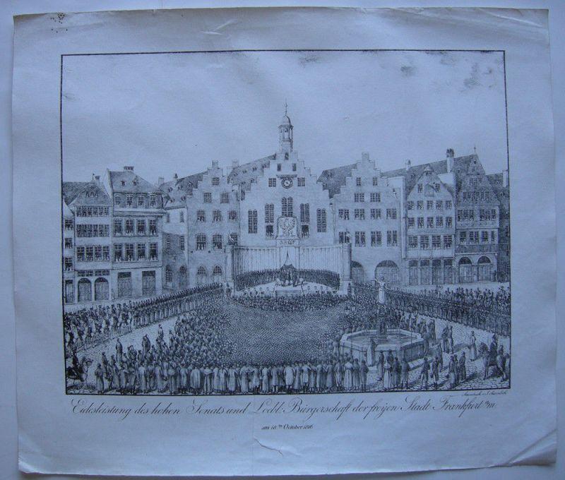 Joh Susenbeth Frankfurt Vereidigung Senat Römer Orig Lithogr 1816
