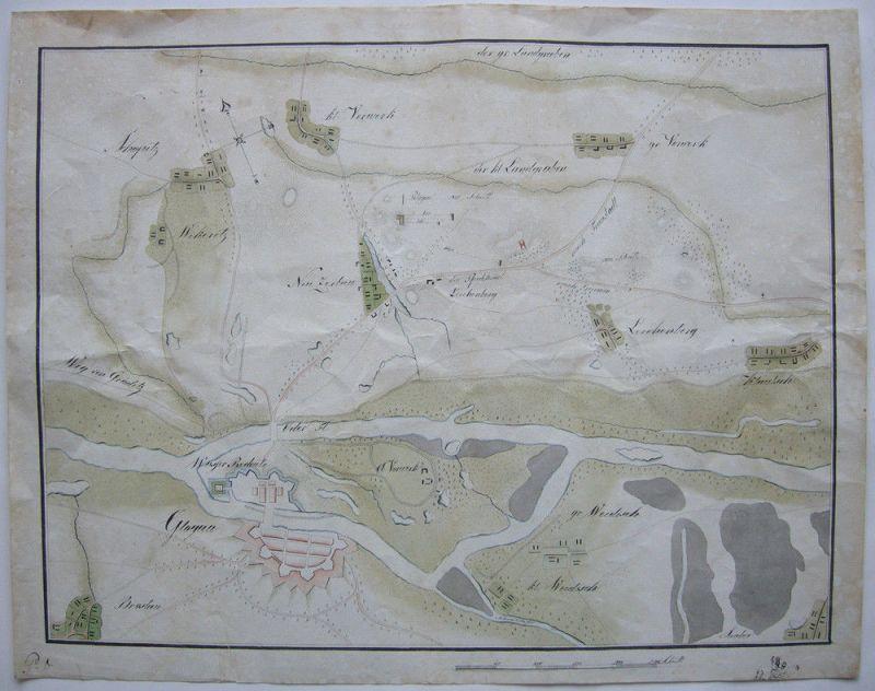 Glogau Glogow Schlesien Manuskriptkarte kolor Tuschzeichnung 1750 Polski Slask