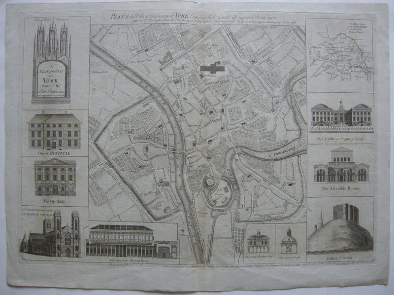 York Plan of the City Orig Kupferstich Chassereau 1766 England copper plate