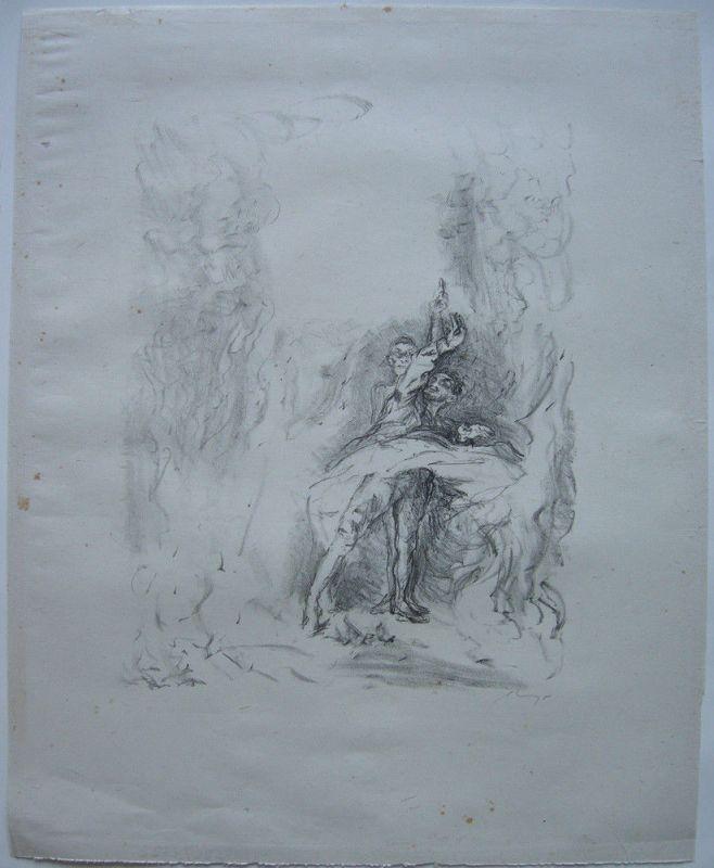 Max Slevogt (1868-1932) Tanz im Feuer Orig Lithografie signiert 1920