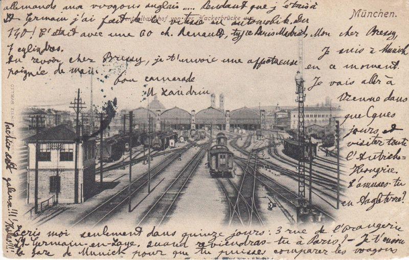AK München Bahnhof  Gleisanlagen Einfahrt Halle gel 1908