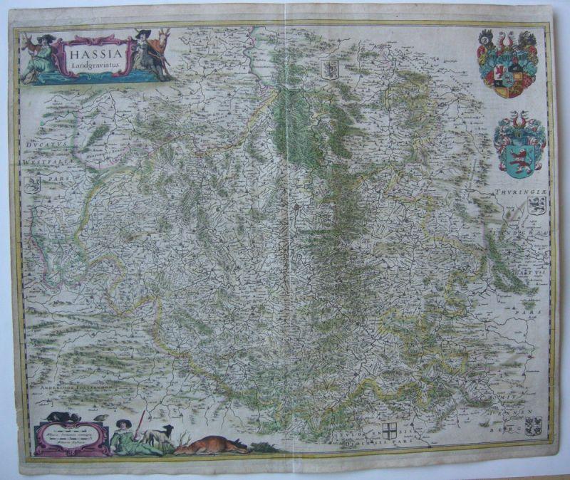 Hessen altkolor Orig Kupferstichkarte Blaeu 1627