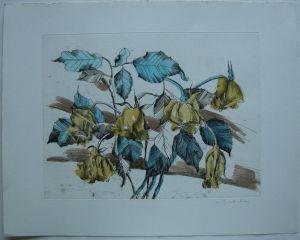 Margit von Speckelsen (1940) Blumenstilleben Orig Farbradierung 1970 signiert