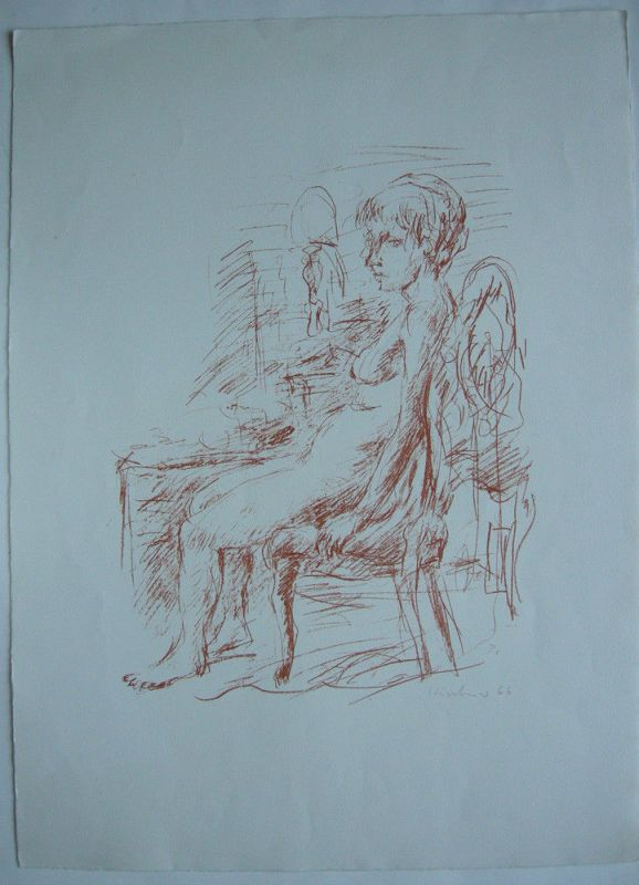 Robert Kirchner (1940-2009) Sitzender Akt Orig Lithografie 1966 signiert Probedr