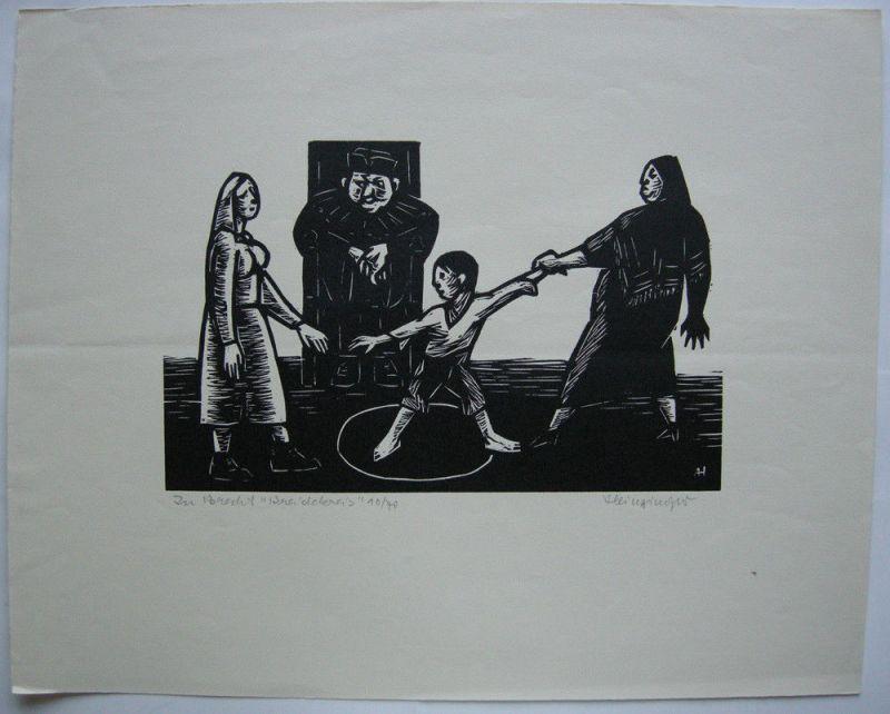 Albert Heinzinger (1911-1992) Zu Brechts Kreidekreis Orig Holzschnitt signiert