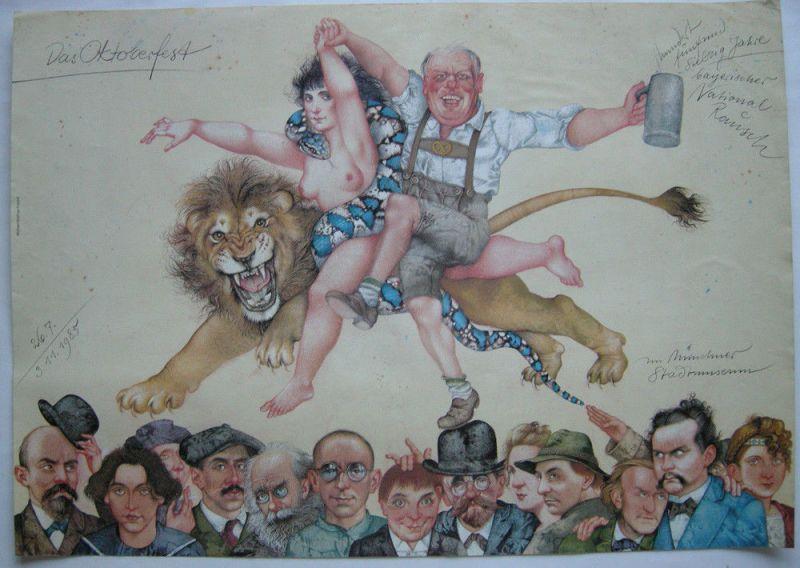 Michael Mathias Prechtl 175 Jahre Oktoberfest München Offset Plakat 1980