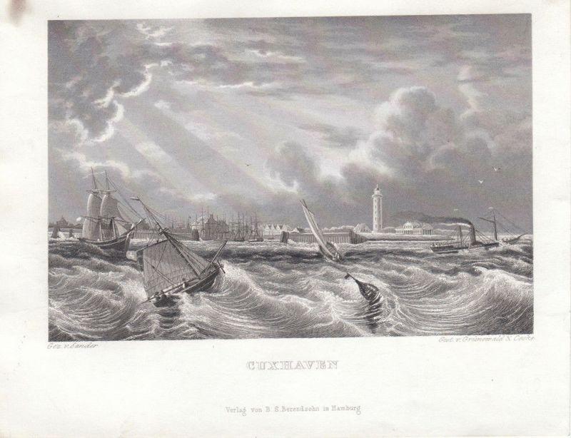 Cuxhaven Gesamtansicht vom Meer Orig Stahlstich Grünewald 1850 Niedersachsen