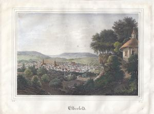 Elberfeld Wuppertal Gesamtansicht Orig. Farblithografie 1839 Nordrhein-Westfalen