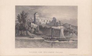 Ruinen Schloss Balca Rügen Orig Stahlstich 1850 Vorpommern