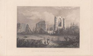Ruinen Kloster Eldena Greifswald Rügen Orig Stahlstich 1850 Vorpommern