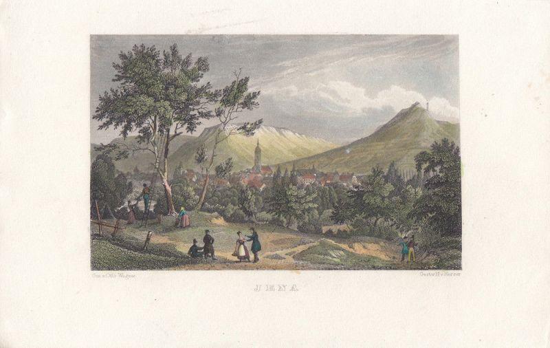 Jena Thüringen Gesamtansicht kolor Orig Stahlstich H. v. Harzer 1850