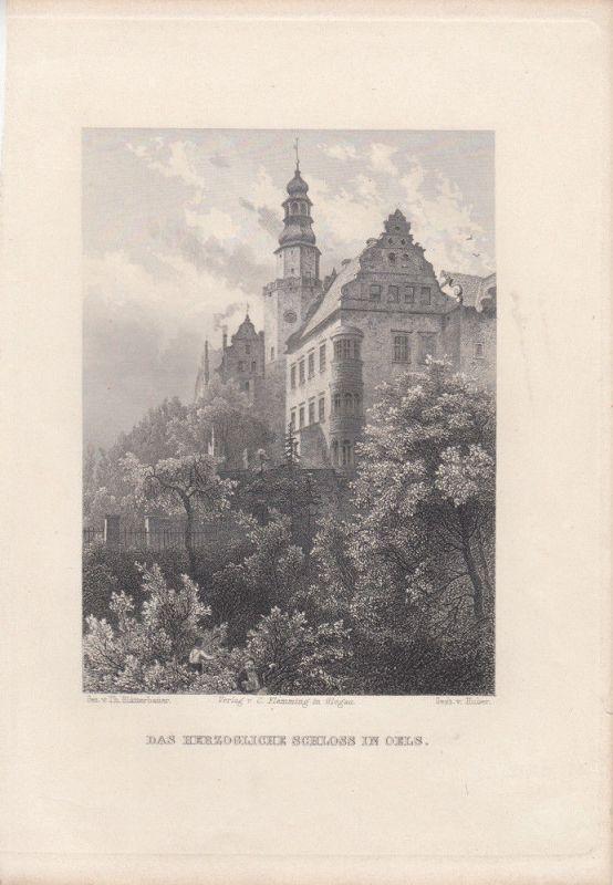 Breslau Schloss in Oels Olesnica Wroclaw Polen Orig Stahlstich Huber 1850