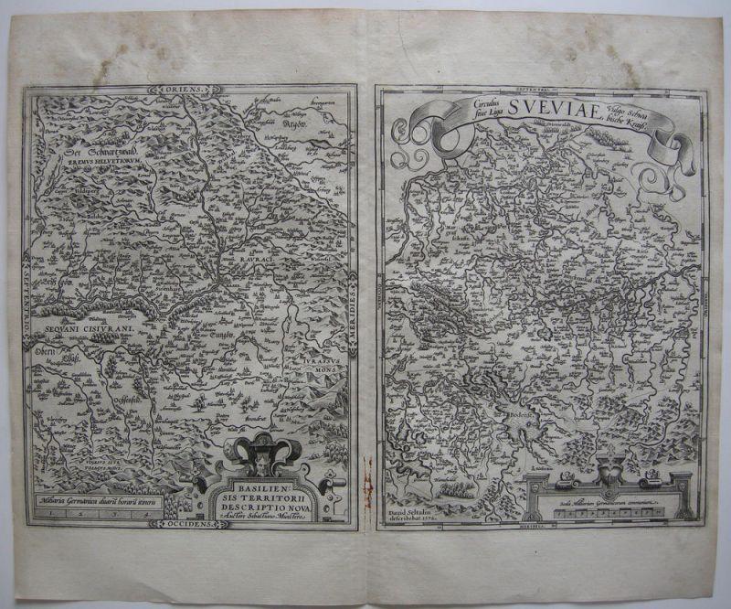Basel Schweiz Baden Württemberg 2 Orig Kupferstichkarten Ortelius 1572