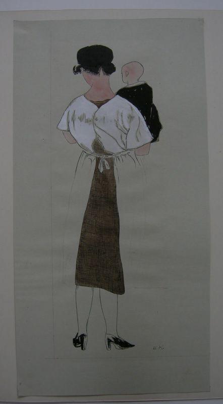 Egon Krause (XIX/XX. Jh.) Entwurf Simplicissimus Mutter Kind monogr 1925