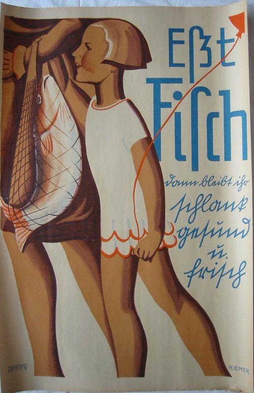 Walter Riemer (1896-1942) Eßt Fisch Toto lithografiertes Orig Plakat 1930 Riemer