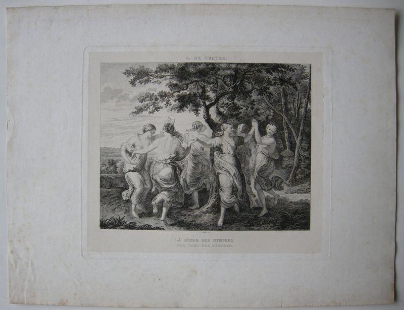 Tanz der Nymphen Orig Kupferstich Gaucher nach Gaspar Crayer 1830