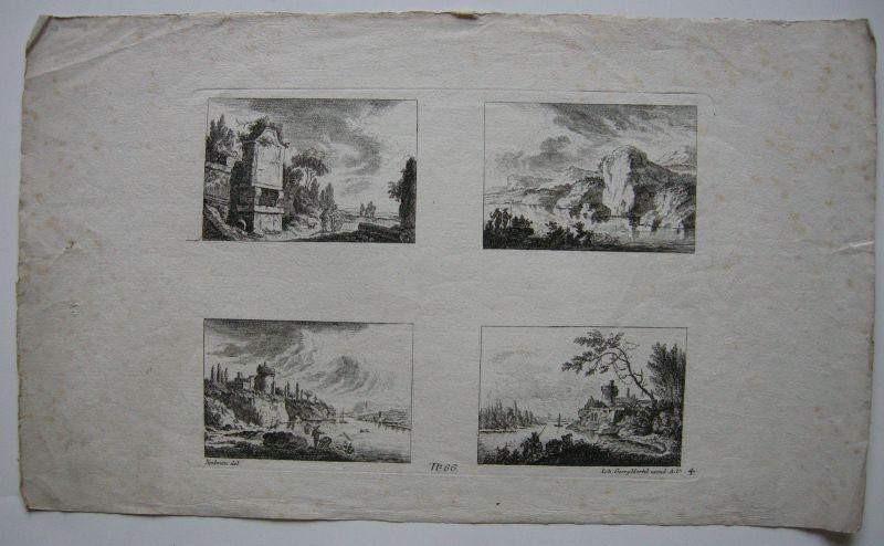 Johann Georg Hertel nach Spilman 4 Orig Landschaftskupfer 1770