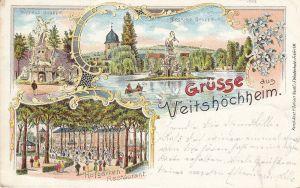 Ak Veitshöchheim Unterfranken Würzburg Hofgarten Restaurant Litho gel 1899
