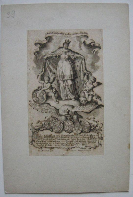 Heilige Hedwig Schutzpatronin Schlesiens Orig Kupferstich um 1800 Balzer Slask