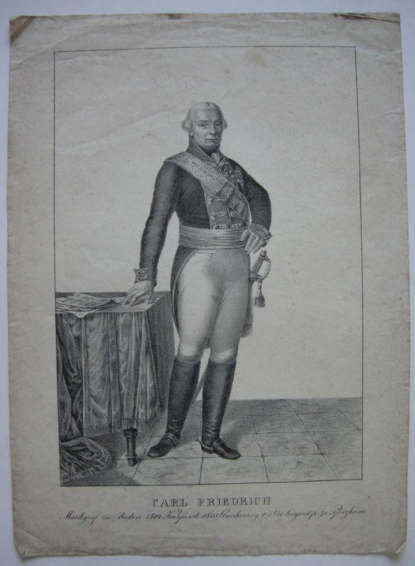Karl Friedrich von Baden (1728-1811) Markgraf Baden Kurfürst Orig Lithogr 1830