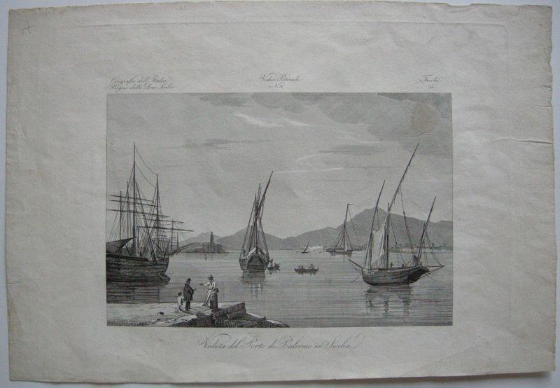 Veduta del Porto di Palermo Sicilia Orig. Kupferstich 1845 Zuccagni-Orlandini