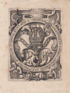 Wappen Johannes Schroedel Abt Kloster St. Emma Schottland Kupferstich 1600