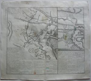 Böhmen Belagerung Prag 1742 Erbfolgekrieg Orig. Kupferstichkarte Homann 1743