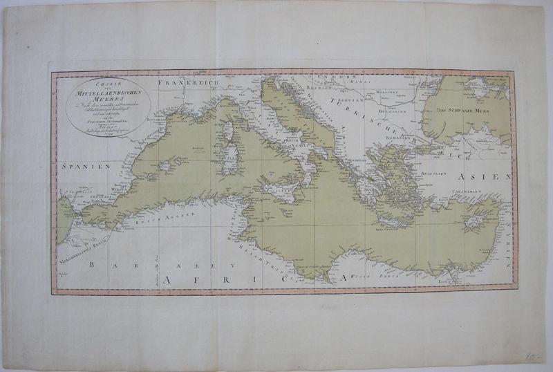 Mittelmeer Italia Griechenland altkolor Kupferstichkarte 1799 Sternwarte Seeberg