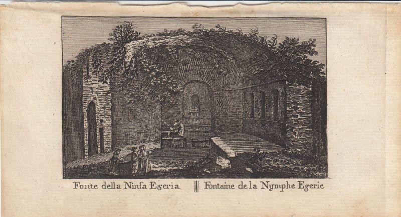 Fonte della Ninfa Egeria Roma Italia Orig Kupferstich Vasi 1816