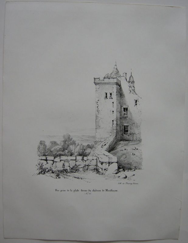 Montlucon vue prise du chateau Allier Auvergne France Orig Lithografie 1842