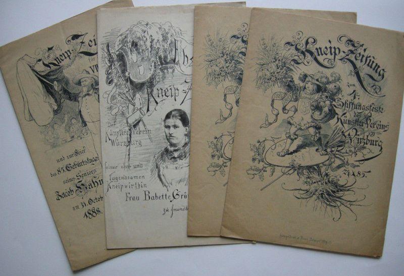 Kneip-Zeitung Stiftungsfest Künstler-Verein Würzburg 1885-1888 4 Hefte