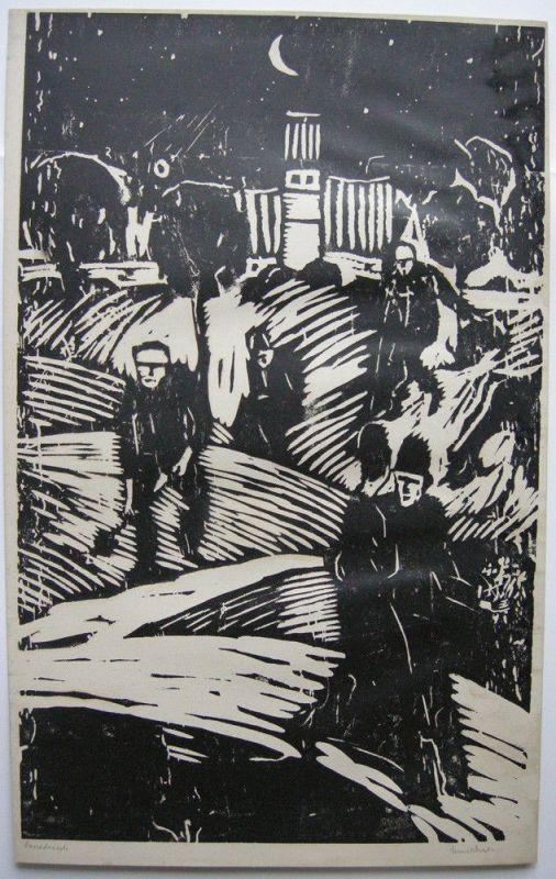 Emil Bizer (1881-1957) Nachtspaziergang Orig. Linolschnitt 1920 signiert