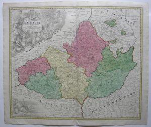 Mähren Tschechien Slowakei Morava kol Kupferstichkarte Homann 1720