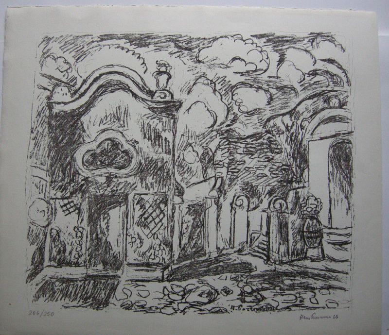 Hans Purrmann (1880-1966) Barockkapelle Lepanto Orig Lithografie 1965