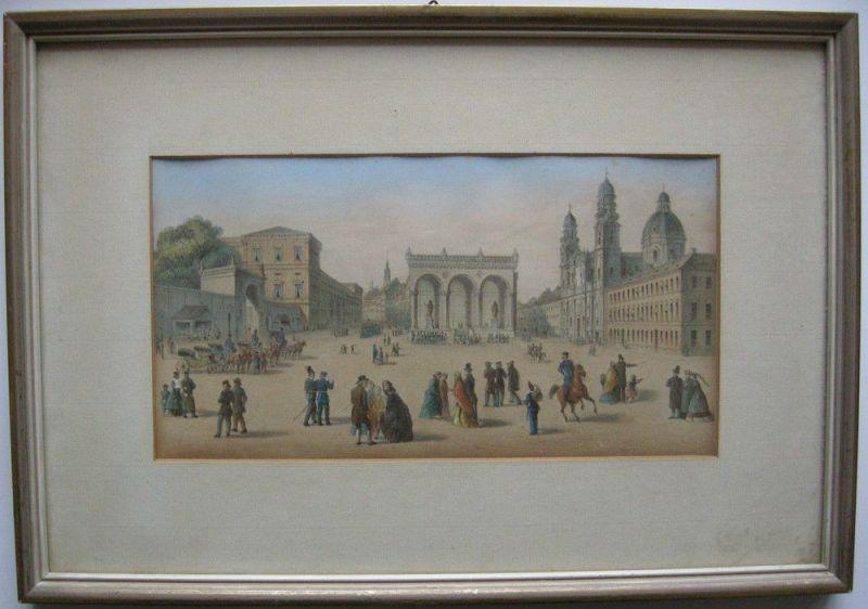 München Odeonsplatz Theatinerkirche Orig Farblithografie Grünwedel 1864