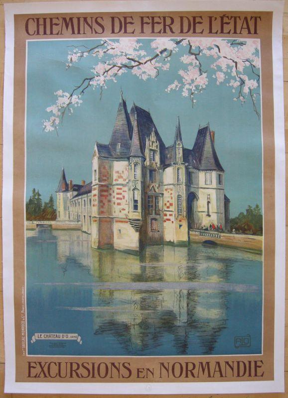 Plakat affiche Chemins de fer chateau de Normandie Lithografie entoilé 1910