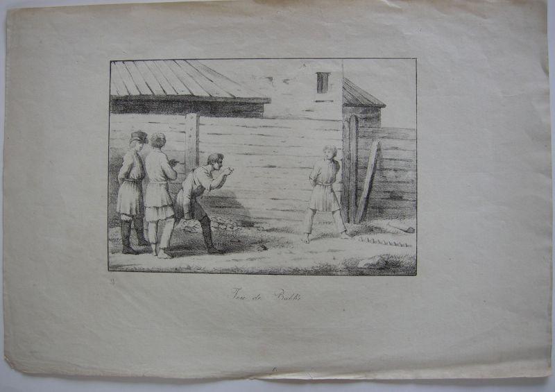 Babki Kegelspiel Russland Kinder Orig Lithografie 1840