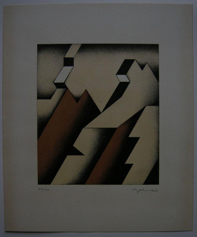 Ludwig Gebhard (1933-2007) Geometrische Komposition Orig. Lithografie signiert