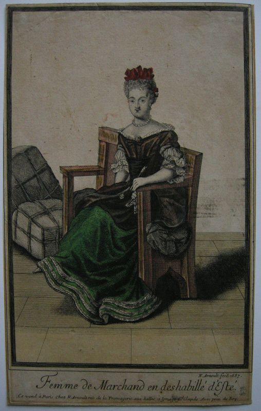 Nicolas Arnoult (XVII) Femme de Marchand kolor Orig Kupferstich 1687